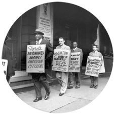 Protesting Ford's Theatre Jim Crow admission policy. Large format film negative (cropped), Paul Henderson, ca. 1951. Maryland Historical Society, HEN.00.A2-156.