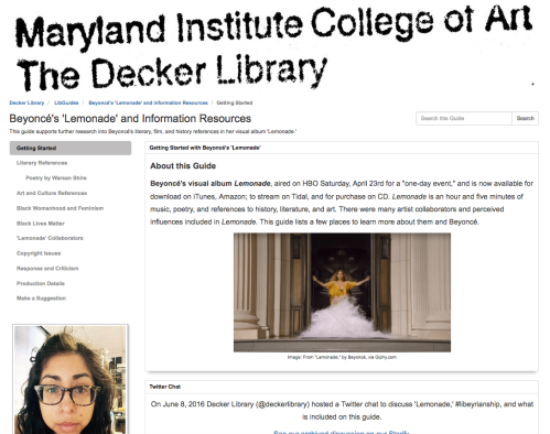 Beyoncé's 'Lemonade' and Information Resources LibGuide by Jenny Ferretti