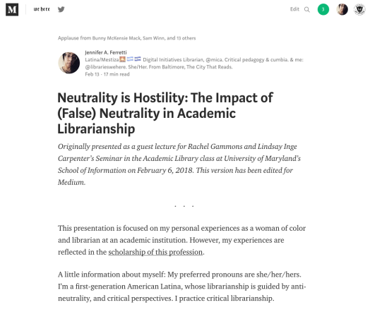 Screenshot and link to medium post: Neutrality is Hostility by Jennifer A. Ferretti