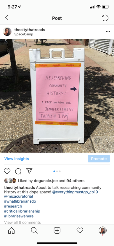 Screenshot of Instagram picture of sign for Researching Community History workshop