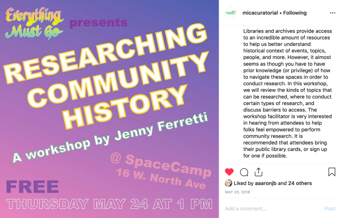 Screenshot of Instagram advertising Researching Community History Workshop