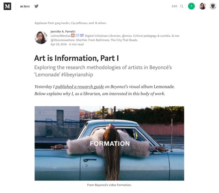 "Screenshot of ""Art is Information, Part I"" article on Medium by Jennifer A. Ferretti."