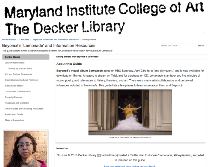 Screenshot of the research guide Beyoncé's Lemonade and Information Resources by Jennifer A. Ferretti.
